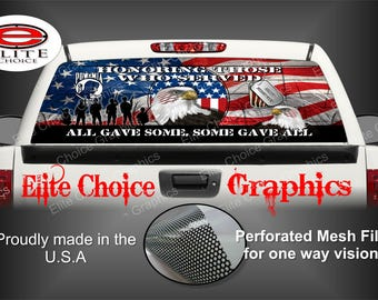 Military Honor Vets Patriotic Flag Rear Window Graphic Tint Decal Sticker Truck SUV Van Car