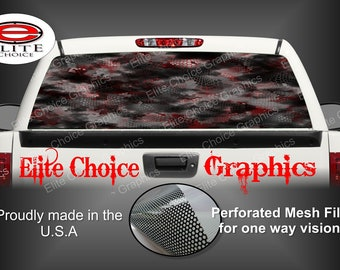Hex 2 Red Camo Rear Window Graphic Tint Decal Sticker Truck SUV Van Car