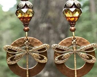 Brass dragonfly earrings- Dragonfly earrings - hammered copper earrings - mixed metal jewelry - hand hammered - Nature jewelry-Dragonfly