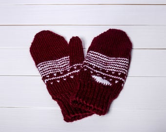 Knit winter mittens Knit wool gloves Gift for her Red gloves Ornamented mittens Women mittens Women gloves Hand knit mittens Winter gloves