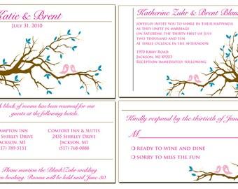 Pink Love Birds Wedding Invitation Suite