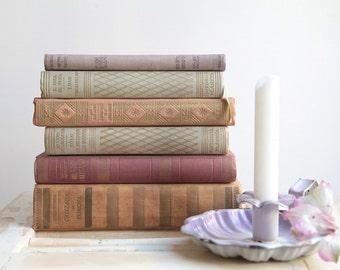 Vintage Books Set, Decorative Books, Pastel Colors Stack Books, Vintage Hard Cover Books, Wedding Table Decor, Book Centerpiece