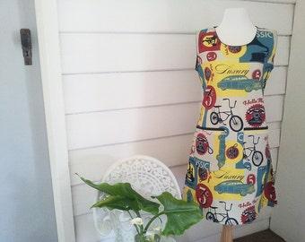 Women's Dress Made to Order Tunic Dress Australian Made Mod Dress Vintage Look Dress Bikes Cars Dress Summer Dress Pocket Sleeveless Dress