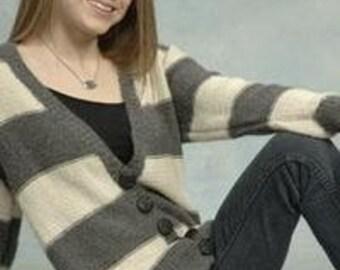 Knitting Pattern - Alpaca Sweater - Baby Alpaca Striped Tunic Cardigan - On Sale 30% Off - Printed Alpaca Sweater Pattern 1850