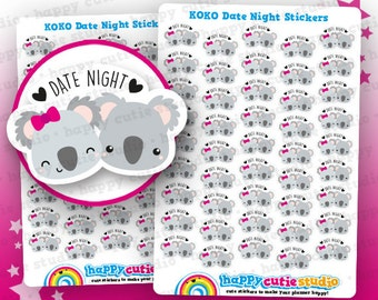 45 Cute Koko the Koala 'Date Night' Planner Stickers, Filofax, Erin Condren, Happy Planner, ...