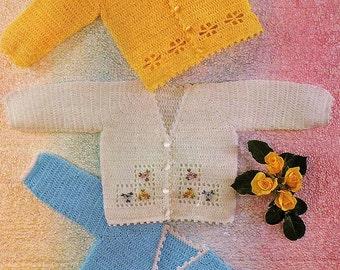 Baby V Neck Cardigans, Crochet Pattern. PDF Instant Download.