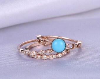 Wedding Ring Set,6mm Round Cut Turquoise Engagement ring,Turquoise Bridal Set,Turquoise Ring,Art Deco Wedding Band,14k Rose gold