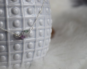 Silver Minimalistic necklace with Agate Multi Colour