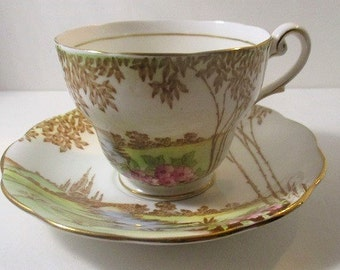Royal Standard Footed Teacup & Saucer, Meadowland Pattern, Fine Bone China, Mid-Century England 1950's