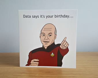 Captain Picard Birthday Card, Nerdy Gift, Funny Greeting Cards, Star Trek: The Next Generation