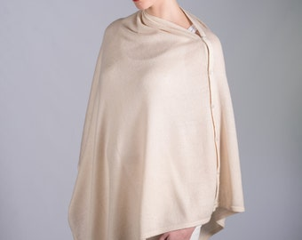 Ivory Cream Cashmere Wrap with Buttons Poncho Shawl in Gift Box