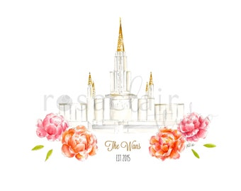 LDS Oakland California Temple Print Wedding Custom Personalize Baptismal Gift Mission Birthday Home Watercolor Christmas