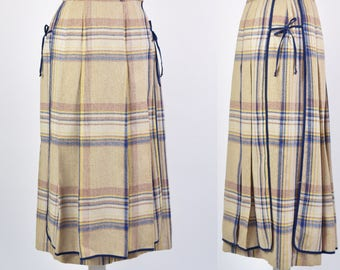 Vintage 70s beige checked skirt with front and back panel and tie sides size 8