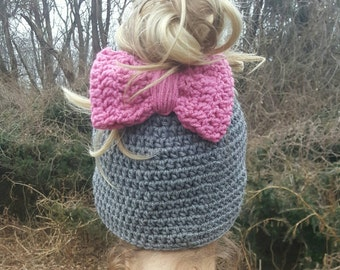 Messy bun crocheted Bow hat