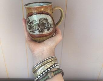vintage pottery owl mug, earth tones, adorable