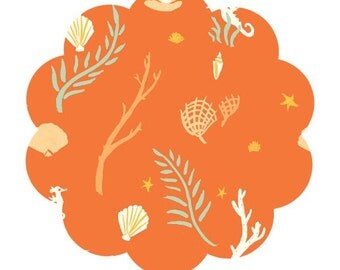 Flotsam and jetsam coral fabric. Saltwater print fabric. Organic apparel/ quilt cotton fabric. DIY sewing sailor fabric. Baby sailor fabric.