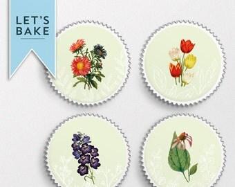 Botanical flower,edible cupcake topper,cake topper, edible cake topper, rice paper cupcake toppers, cupcake, cake, flowers, gift, presen