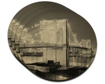 Brooklyn Bridge Night Mdf Wood Coaster Set Of 4