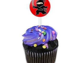 Sneaky Ninja Attacks Cake Cupcake Toppers Picks Set