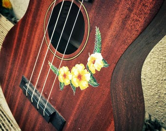 Ukulele sticker decal of vintage hibiscus flower and tropical fern