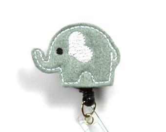 ELEPHANT Felt Badge Reel, Elephant badge Holder, Gray elephant badge Reel, Elephant felt patch badge