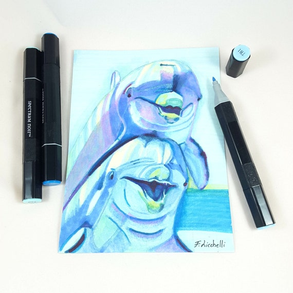 Dolphins illustration, Original drawing by Francesca Licchelli. One of a kind. Baby Shower gift. Child's bedroom decor. Nursery art.