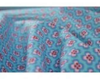 Poplin cotton blue x50cm fantasia flowers design