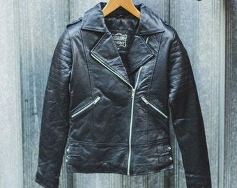 Soft Black Leather Biker Jacket | Quilted Arm Sleeves