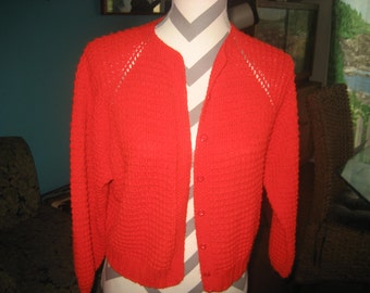 Little Short Red Knit Button Up Sweater