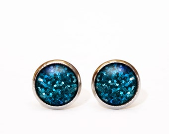 Turquoise Studs Turquoise Earrings Glitter Blue Studs Blue Earrings Turquoise Cabochons Studs Glitter Earrings, Christmas Party Handmade UK