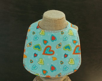 Heart Flannel Bib with Pearl Snap Fastener Baby Gift Baby Shower Gift Mealtime Essentials Drool Bib Baby Layette