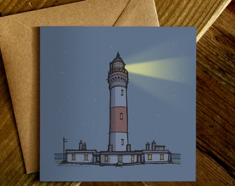 Greetings Card | Lighthouse | Night and Day | Vintage | Illustration | Square
