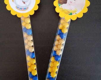 Beauty and the beast  candy wands birthday Goody Bags Party favors Birthday belle beauty and the beast sixlets