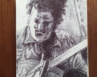 Texas Chainsaw Massacre Leatherface Original Drawing 31DMV