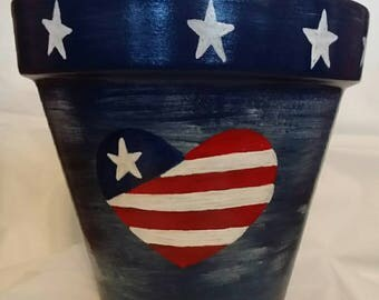 Hand painted clay pot,decorative flower pot,deep Navy blue,star's and stripes,4th of july decor