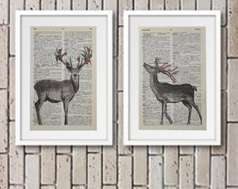 Deer | Stag Art Print On Vintage Dictionary Book Page Paper | Flowers, Cherry Blossom, Poppy, Upcycled, Wall Art | PRINT