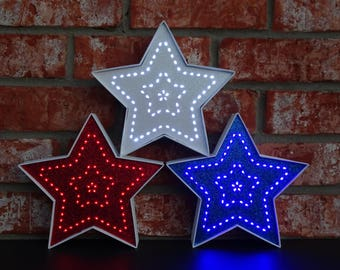 4th of July Red White & Blue Lighted Decorative Stars - 7.5 Inch - Battery Operated
