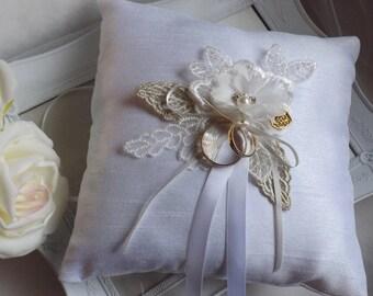 Ring Bearer Pillow, Wedding Ring Pillow, Flower Ring Pillow, Lace Ring Pillow, Ivory Ring Cushion,  Silk Ring Pillow