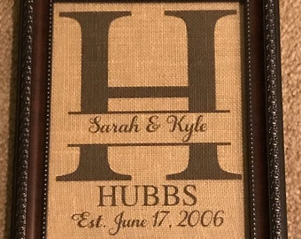 Personalized Custom Monogram & Name Established Framed Print in Burlap or Canvas; Couples, Wedding, Anniversary, Birthday Gifts