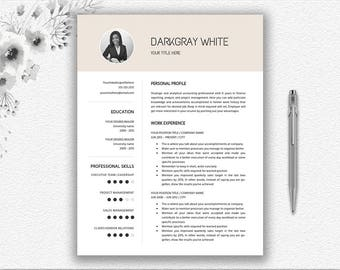 elegant resume with photo cover letter design cv template resume template word
