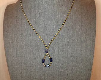 """Sodalite, Lapis Lazuli, & Jade Beaded Necklace with Loop, Sterling Silver Clasp, 16.5"""""""