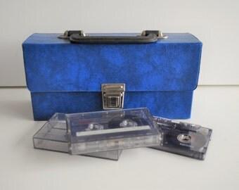 vintage cassette tapes holder. cassette box. cassette tapes case. retro blue cassette tapes holder. space for 12 cassette tapes. metal clip.