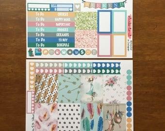 Boho Girl Mini Weekly Set ECLP Horz & Vert Planner Stickers Erin Condren Mambi Inkwell Press Filofax KikkiK Happy