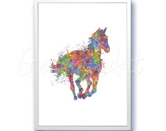 Horse Running [1] Watercolor Art Print  - Home Living - Animal Painting - Horse Poster - Wall Decor - Home Decor - House Warming Gift