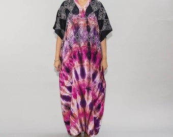 Boho Chic Tiedye Batik Kaftan Modern Cotton Caftans, Beach Wear, Resort Wear, Summer Maxidress, 100% Comfort