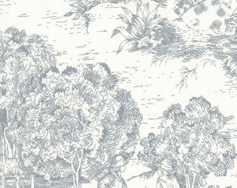 "84"" Shower Curtain, Dove Gray Toile, Unlined"