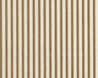 "15"" Cal. King Gathered Bedskirt, Suede Brown Ticking Stripe"