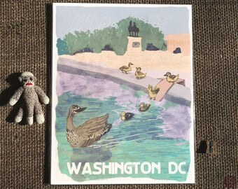 Ducks at the Capitol Reflective Pool - Postcards from Washington DC - present for mother, duck postcard, poster for birder, summer print