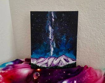 Mountain Galaxy Painting - Colorado Mountain Painting - Acrylic painting - Colorado painting - Mountain painting - Original Painting
