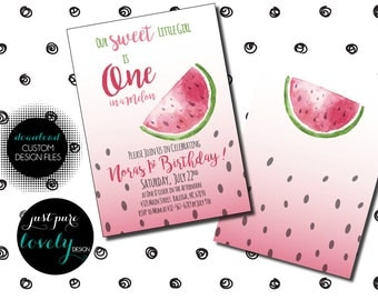 One in a Melon | First Birthday Invitation | Printable | Watermelon Theme | Pink